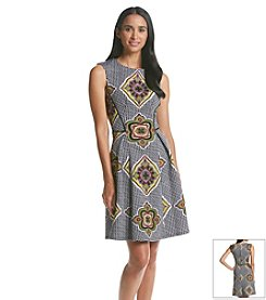 Gabby Skye® Geo Print Scuba Fit And Flare Dress