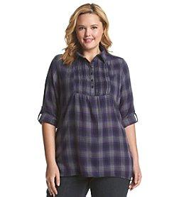 Relativity® Plus Size Plaid Utility Sleeve Tunic