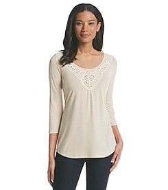 NY Collection Mid-Sleeve Lace Yoke Top
