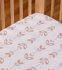 LTB Cotton Poplin Neutral Leaves Crib Sheet
