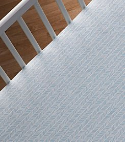 Lolli® Aqua Herringbone Crib Sheet