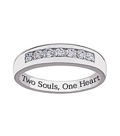 Sweet Sentiments Sterling Silver Cubic Zirconia Wedding Band