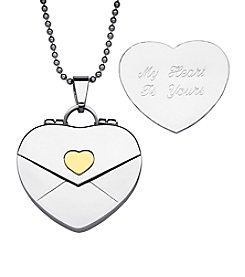 Sweet Sentiments Stainless Steel & Gold Ion Envelope Heart Locket Necklace