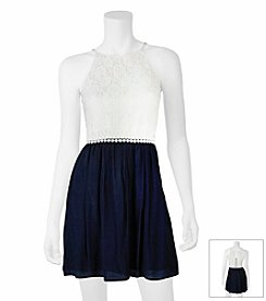 A. Byer Lace Fit And Flare Dress
