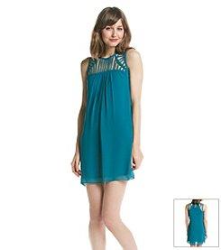A. Byer Lattice Yoke Shift Dress