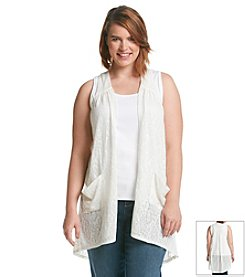 Eyeshadow® Plus Size Jacquard Vest