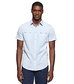 Calvin Klein Jeans Men's Short Sleeve Zipped Pocket Button Down