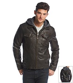 Levi's® Men's Faux Leather Trucker Jacket With Hood