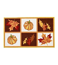 Nourison Pumpkin Leaf Grid Accent Rug