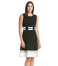 Calvin Klein Contrast Fit And Flare Dress