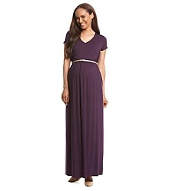Three Seasons Maternity™ Short Sleeve Surplice Maxi Dress