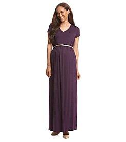 Three Seasons Maternity™ Short Sleeve Surplice Maxi Dress
