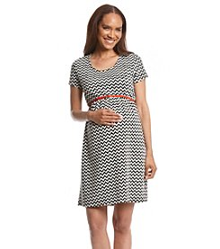Three Seasons Maternity Short Sleeve Belted Print Dress