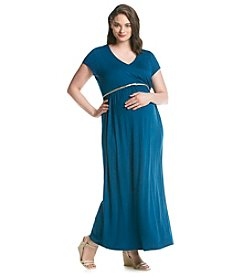 Three Seasons Maternity® Plus Size Short Sleeve Surplice Maxi Dress