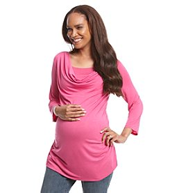 Three Seasons Maternity™ Solid Drape Neck Nursing Top