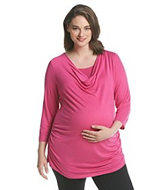 Three Seasons Maternity® Plus Size Solid Drape Neck Nursing Top