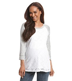 Three Seasons Maternity™ Baseball Sleeve Lace Front Top