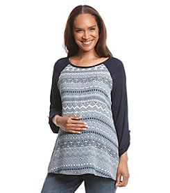 Three Seasons Maternity® Roll Tab Solid Sleeve Print Top