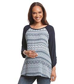 Three Seasons Maternity® Roll Tab Solid Sleeve Print Top