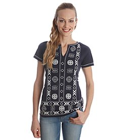 Lucky Brand® Circle Embroidered Top