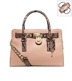 MICHAEL Michael Kors® Hamilton Embossed-Trim Leather Satchel