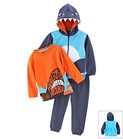 Nannette® Boys' 2T-4T 3-Piece Shark Fleece Set