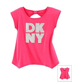 DKNY® Girls' 4-6X Rhinestone Logo Sharkbite Tee