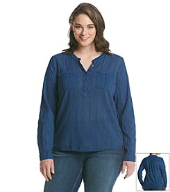 Ruff Hewn Plus Size Embroidered Popover Blouse