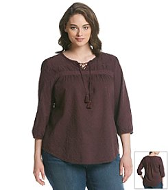 Ruff Hewn Plus Size Eyelet Peasant Top