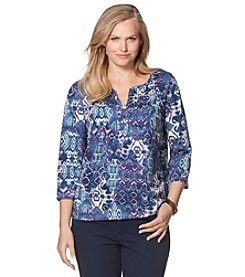 Chaps® Plus Size Printed Peasant Top