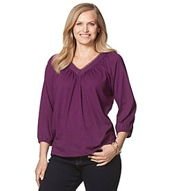 Chaps® Plus Size V-Neck Peasant Top