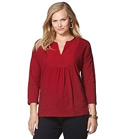 Chaps® Plus Size Lace-Bib Jersey Top
