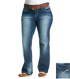 Wallflower® Plus Size Luscious Curvy Belted Flap Pocket Bootcut Jeans