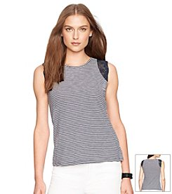 Lauren Ralph Lauren® Striped Lace Trimmed Tank