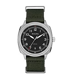 Bulova® Men's Black Dial Watch With Green Strap