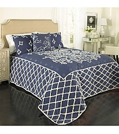 Beatrice Home Fashions Blue Grotto Chenille Bedspread Collection