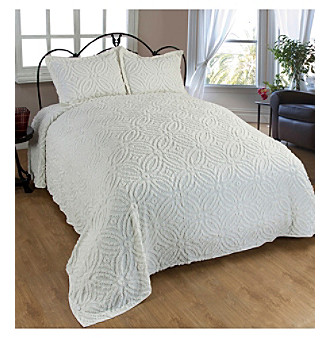 Beatrice Home Fashions Wedding Ring Chenille Bedspread Colle