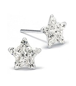 Sterling Silver Crystal Star Earrings