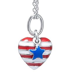 Sterling Silver American Flag Heart Pendant Necklace