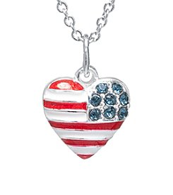 Silver Plated American Flag Heart Pendant Necklace