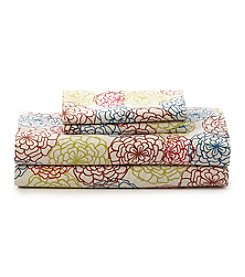 LivingQuarters Loft Floral 225-Thread Count Percale Sheet Set