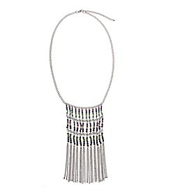 Erica Lyons® Silvertone Boho Multi Row Chain Bead And Fringe Necklace