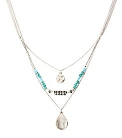Kenneth Cole® Silvertone Disc & Bead Three Row Necklace