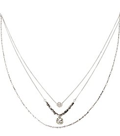 Kenneth Cole® Silvertone Pave Circle & Square Crystal Three Row Necklace