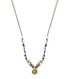 Kenneth Cole® Two Tone Circle Pendant Mixed Bead Necklace