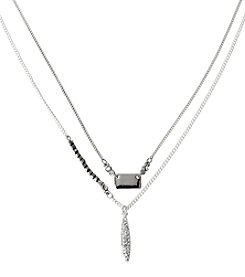 Kenneth Cole® Silvertone Pave Oval Double Pendant Necklace