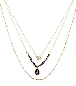 Kenneth Cole® Goldtone Pave Circle & Teardrop Crystal Three Row Necklace