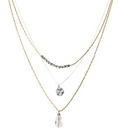 Kenneth Cole® Two Tone Disc & Faceted Bead Three Row Necklace