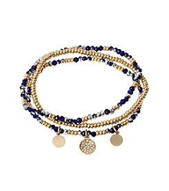 Kenneth Cole® Two Tone Mixed Blue Faceted Bead Stretch Bracelet Set