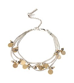 Kenneth Cole® Two Tone Shaky Disc & Faceted Bead Multi Row Bracelet